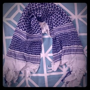 Blue and white army scarf